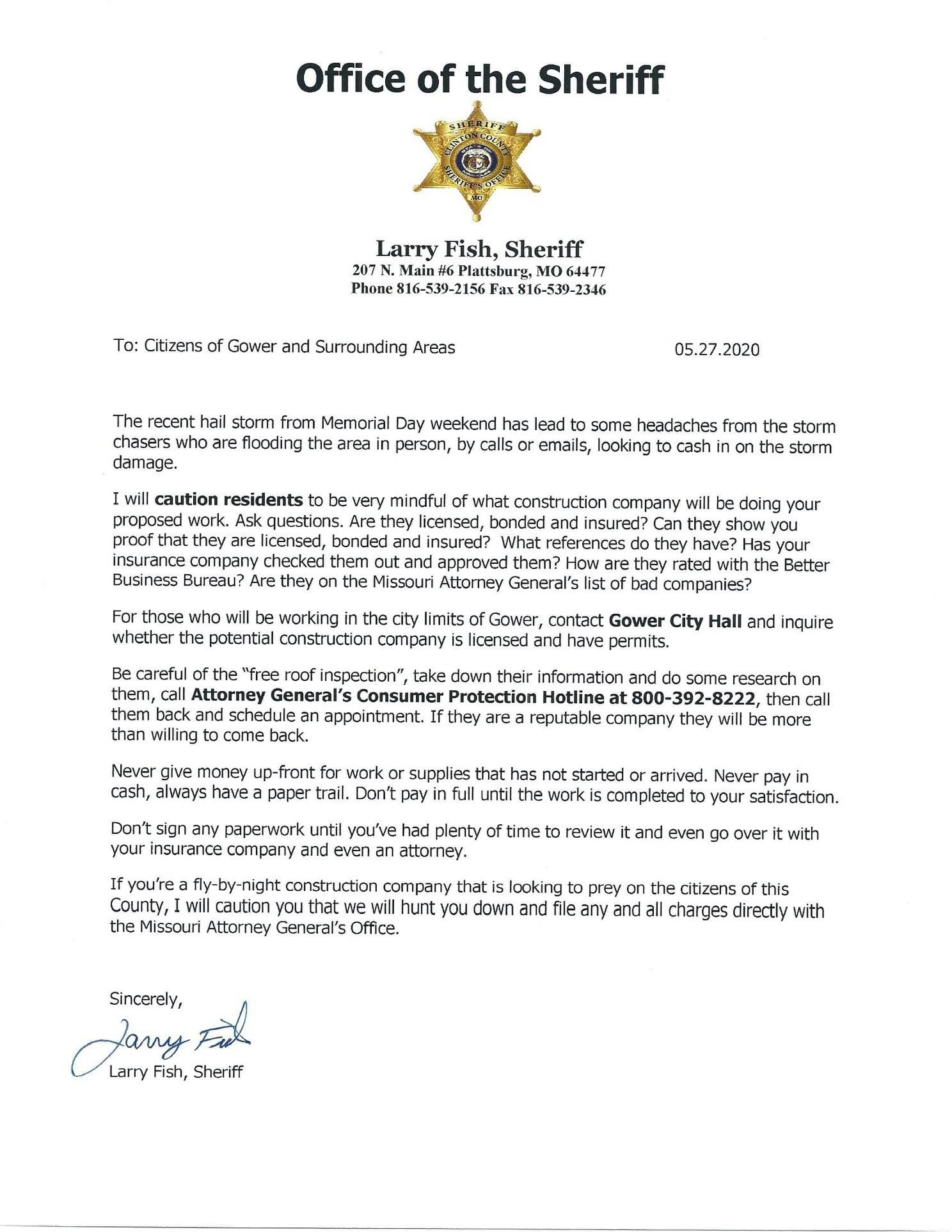 Sheriff Larry Fish Letter 6-2020